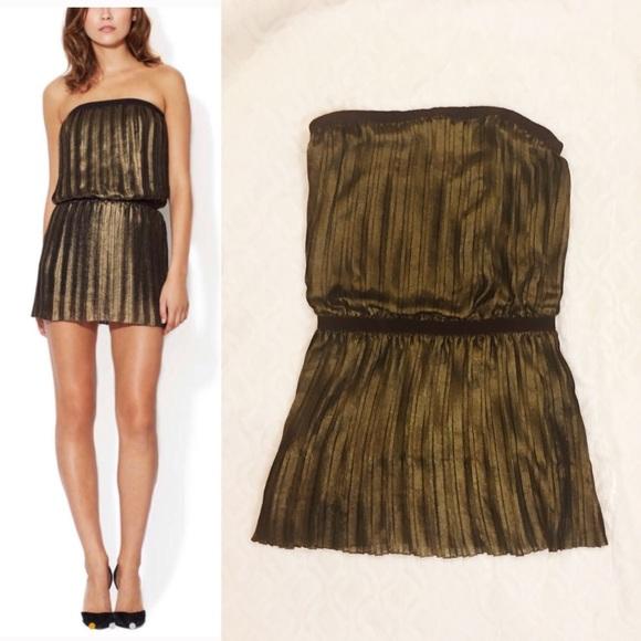 79549f374f BCBGMaxAzria Dresses   Skirts - BCBGMaxAzria Rive Gold Metallic Pleated  Mini Dress